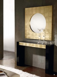 Espejo círculo con marco dorado cuadrado