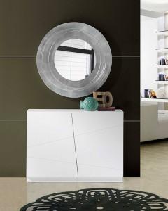 Espejo círculo con marco plateado