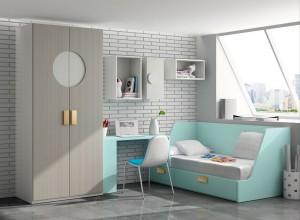 muebles juveniles en zaragoza color verde agua y gris melamina