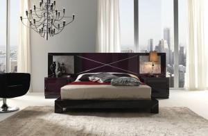 Cabecero morado dormitorio moderno en Zaragoza