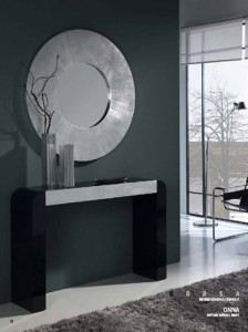 Espejo circular con marco ancho gris