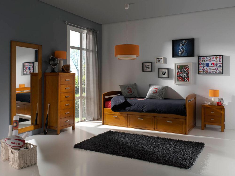 04 dormitorio infantil juvenil lacado madera mundo madera - Dormitorios juveniles de madera maciza ...