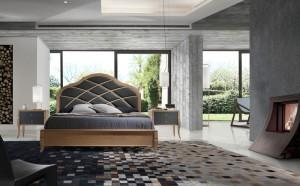 Dormitorio clásico con cabecero gris en Zaragoza