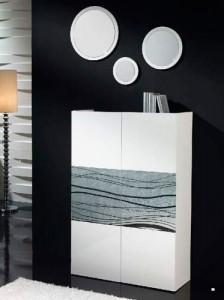 Espejos circulares con marcos finos blancos