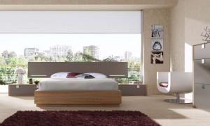 Alfombra granate dormitorio moderno Zaragoza