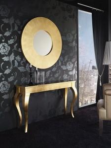 Espejo circular con marco ancho dorado