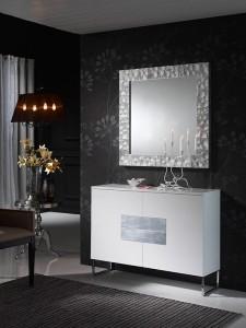 Espejo cuadrado con marco rugoso blanco