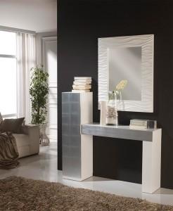 Espejo cuadrado con marco blanco ancho