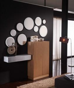 Espejos pequeños circulares con marco blanco fino