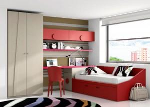 muebles juveniles color rojo
