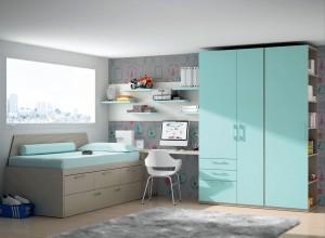 muebles juveniles azul agua