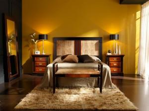 Dormitorio clásico mostaza en Zaragoza