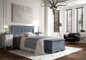 Dormitorio azul y blanco colonial a medida