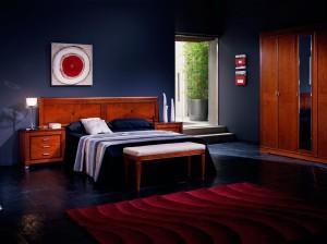 Dormitorio azulón clásico en Zaragoza