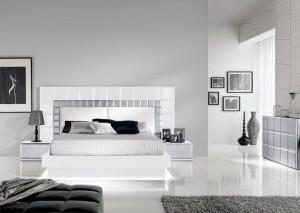 Cabecero blanco con dormitorio moderno de Zaragoza
