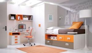 muebles juveniles en zaragoza melamina gris y naranja