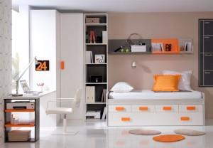 muebles juveniles en zaragoza melamina naranja y blanco