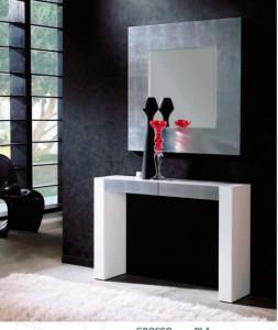 Espejo cuadrado con marco grande plateado