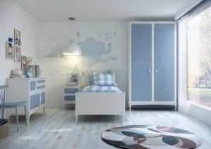 Dormitorio juvenil madera azul Zaragoza