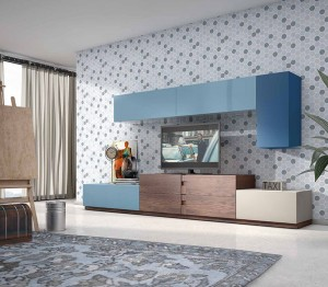 Mueble salón azul moderno Zaragoza
