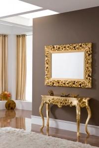 Mueble auxiliar de entrada dorado