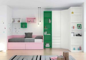 muebles juveniles en zaragoza rosa verde y blanco melamina