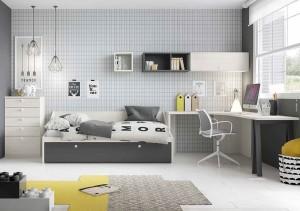 muebles juveniles en zaragoza amarillo, blanco y gris melamina