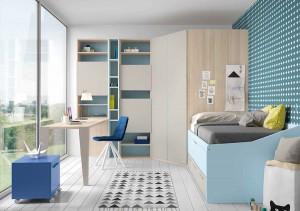 muebles juveniles en zaragoza blancos y azul melamina