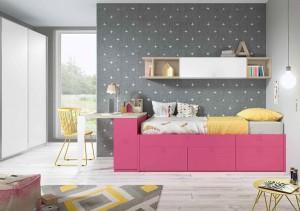 muebles juveniles en zaragoza color rosa y gris melamina