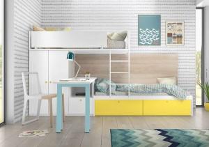 muebles juveniles en zaragoza blanco, azul y amarillo melamina