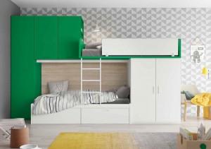 muebles juveniles en zaragoza verde y blanco melamina