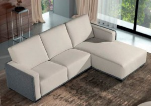 Sofá blanco moderno y cheslong