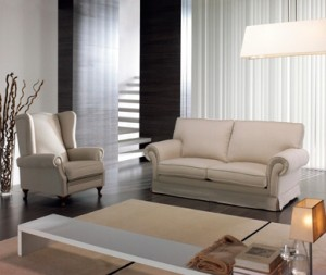 Sillón y sofá dos plazas blanco crema