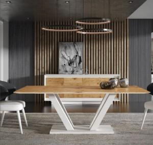 Comprar mesa de madera clara con patas blancas cruzadas