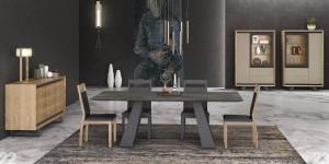 Mesa de salón gris con patas cruzadas