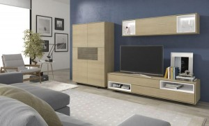 Mueble moderno para salón en madera.