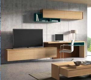 Mueble para salón con escritorio incluído en madera.