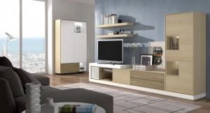 Mueble bajo moderno para salón con cajones.