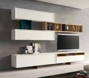 Mueble y librería para salón moderno en color blanco y madera.