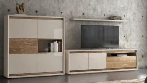 Salón moderno blanco y color madera. Mundo Madera. Zaragoza
