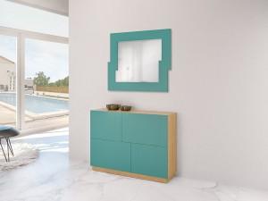 Mueble auxiliar y espejo de color