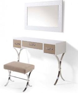Mueble auxiliar blanco con espejo y banqueta