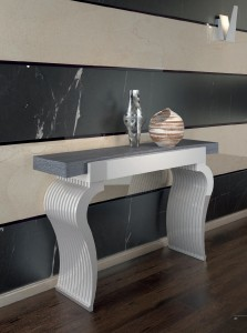 Mueble auxiliar blanco y gris