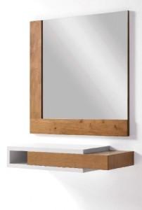 Mueble auxiliar colgante con espejo cuadrado