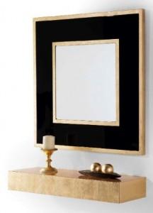 Mueble auxiliar colgante y espejo cuadrado