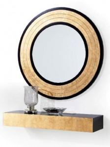 Mueble auxiliar dorado y espejo circular