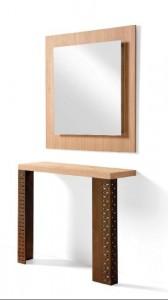 Mueble auxiliar de madera con 2 patas y espejo cuadrado