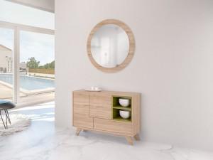 Mueble auxiliar de madera clara y espejo circular