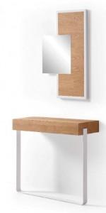 Mueble de madera de 2 patas con espejo